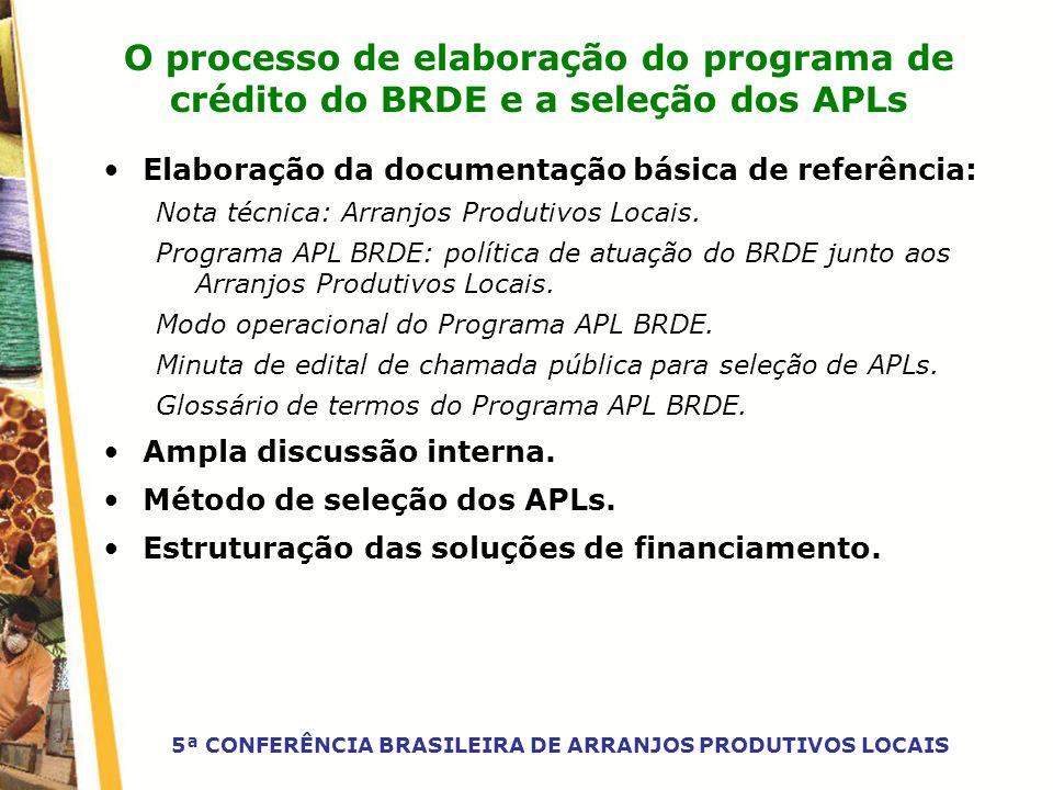 O processo de elaboração do programa de crédito do BRDE e a seleção dos APLs Elaboração da documentação básica de referência: Nota técnica: Arranjos P
