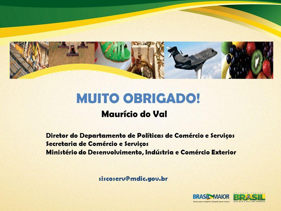 MUITO OBRIGADO! Diretor do Departamento de Políticas de Comércio e Serviços Secretaria de Comércio e Serviços Ministério do Desenvolvimento, Indústria