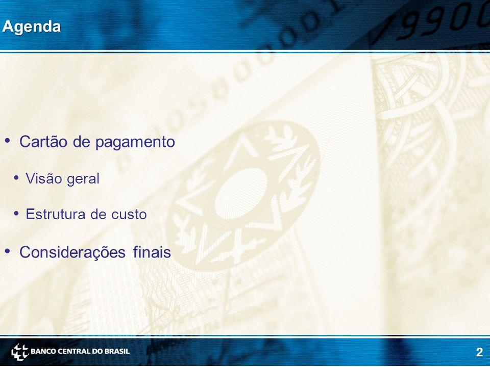 2Agenda Cartão de pagamento Visão geral Estrutura de custo Considerações finais