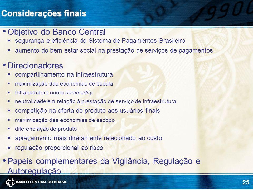 25 Objetivo do Banco Central segurança e eficiência do Sistema de Pagamentos Brasileiro aumento do bem estar social na prestação de serviços de pagame