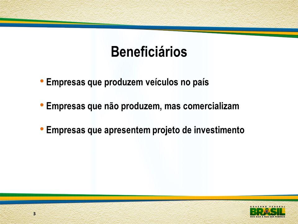 3 Beneficiários Empresas que produzem veículos no país Empresas que não produzem, mas comercializam Empresas que apresentem projeto de investimento