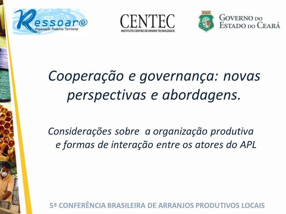 5ª CONFERÊNCIA BRASILEIRA DE ARRANJOS PRODUTIVOS LOCAIS Que instrumentos/mecanismos devem ser criados ou aperfeiçoados para incrementar a cooperação e a governança nos Arranjos Produtivos Locais.