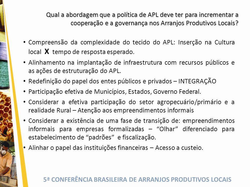 5ª CONFERÊNCIA BRASILEIRA DE ARRANJOS PRODUTIVOS LOCAIS Compreensão da complexidade do tecido do APL: Inserção na Cultura local X tempo de resposta es