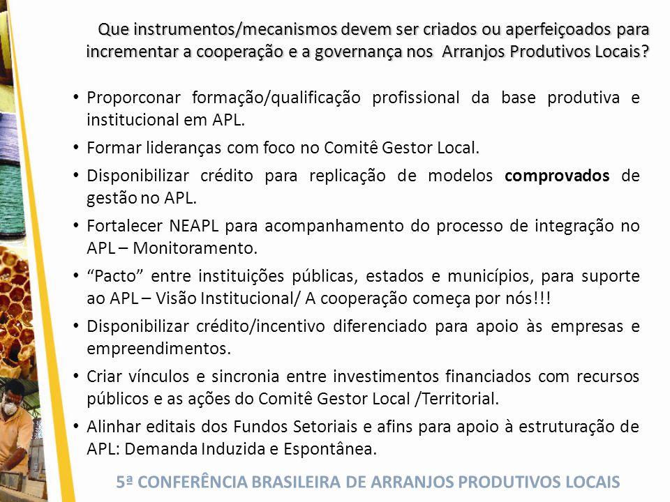 5ª CONFERÊNCIA BRASILEIRA DE ARRANJOS PRODUTIVOS LOCAIS Que instrumentos/mecanismos devem ser criados ou aperfeiçoados para incrementar a cooperação e