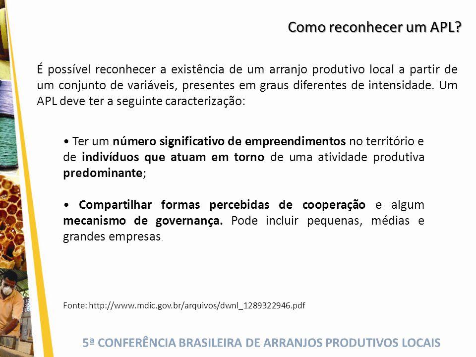 5ª CONFERÊNCIA BRASILEIRA DE ARRANJOS PRODUTIVOS LOCAIS Como reconhecer um APL? Ter um número significativo de empreendimentos no território e de indi