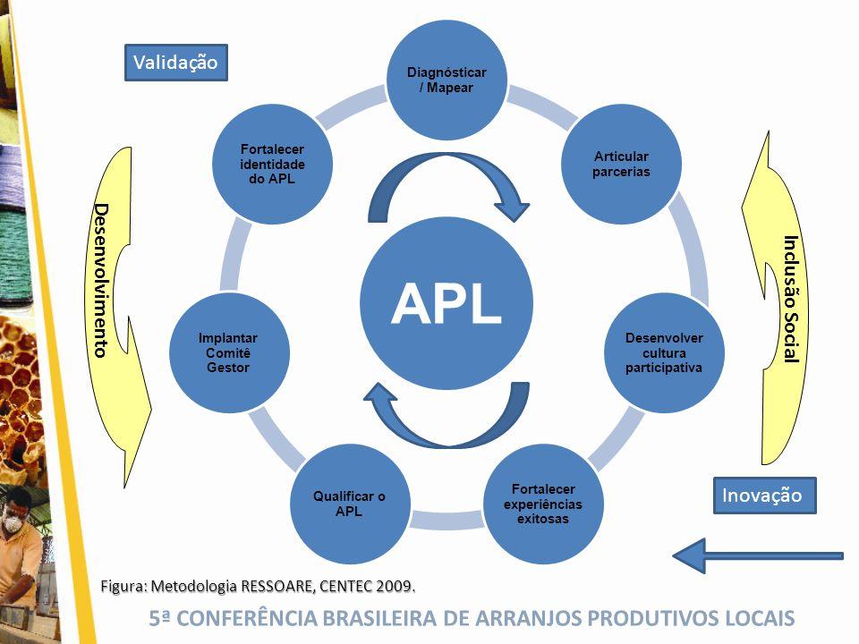 5ª CONFERÊNCIA BRASILEIRA DE ARRANJOS PRODUTIVOS LOCAIS APL Diagnósticar / Mapear Articular parcerias Desenvolver cultura participativa Fortalecer exp