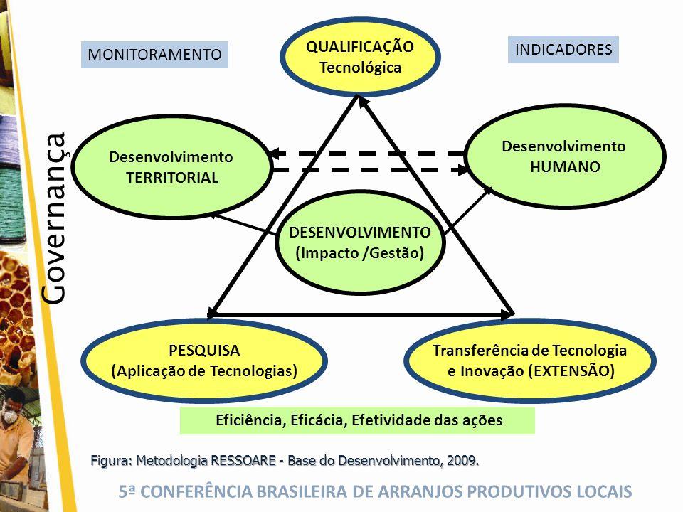 5ª CONFERÊNCIA BRASILEIRA DE ARRANJOS PRODUTIVOS LOCAIS Figura: Metodologia RESSOARE - Base do Desenvolvimento, 2009. QUALIFICAÇÃO Tecnológica Transfe