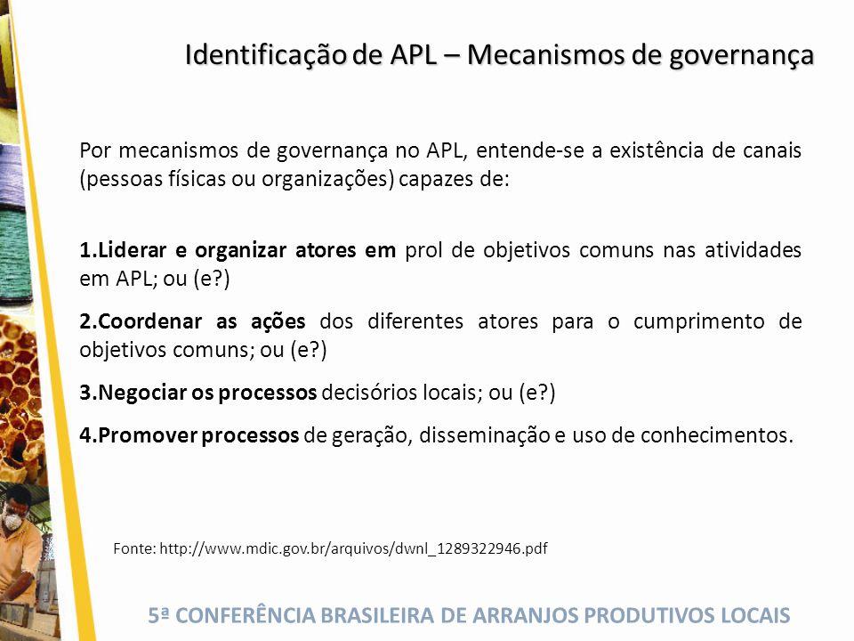 5ª CONFERÊNCIA BRASILEIRA DE ARRANJOS PRODUTIVOS LOCAIS Por mecanismos de governança no APL, entende-se a existência de canais (pessoas físicas ou org