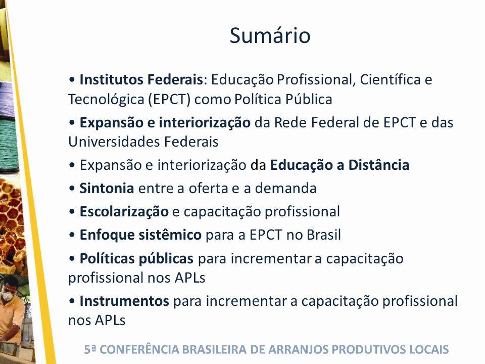 5ª CONFERÊNCIA BRASILEIRA DE ARRANJOS PRODUTIVOS LOCAIS Institutos Federais: Evolução histórica Busca dinâmica de convergência com as tendências de desenvolvimento