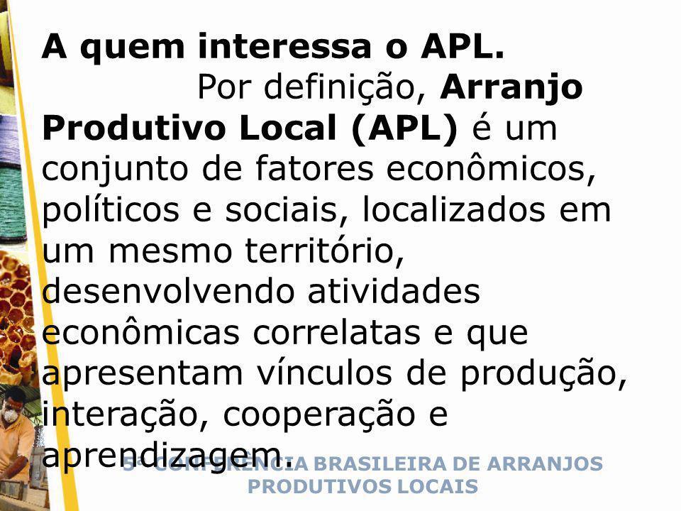 5ª CONFERÊNCIA BRASILEIRA DE ARRANJOS PRODUTIVOS LOCAIS A quem interessa o APL.