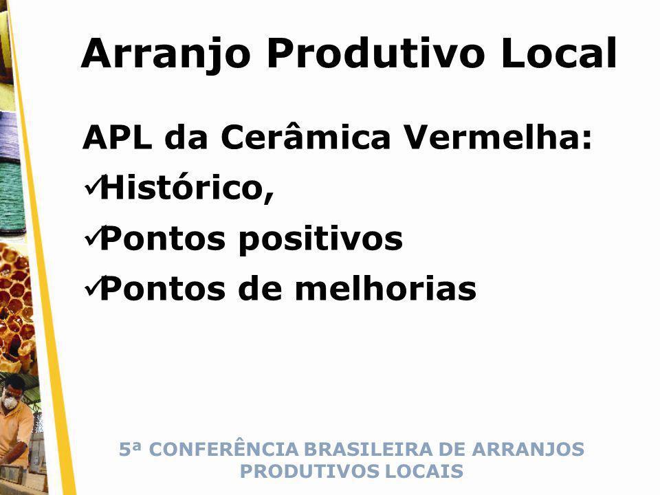 5ª CONFERÊNCIA BRASILEIRA DE ARRANJOS PRODUTIVOS LOCAIS Arranjo Produtivo Local APL da Cerâmica Vermelha: Histórico, Pontos positivos Pontos de melhorias