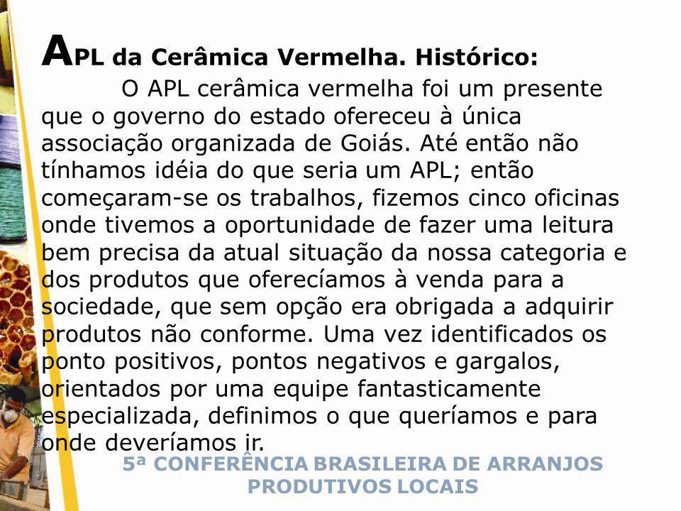 5ª CONFERÊNCIA BRASILEIRA DE ARRANJOS PRODUTIVOS LOCAIS A PL da Cerâmica Vermelha.