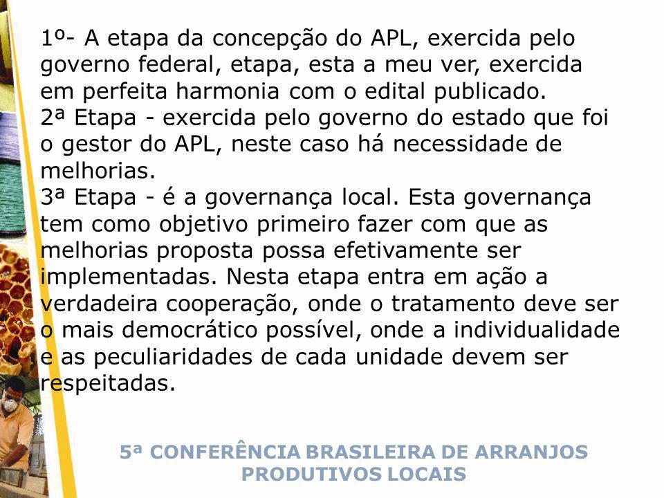 5ª CONFERÊNCIA BRASILEIRA DE ARRANJOS PRODUTIVOS LOCAIS 1º- A etapa da concepção do APL, exercida pelo governo federal, etapa, esta a meu ver, exercida em perfeita harmonia com o edital publicado.