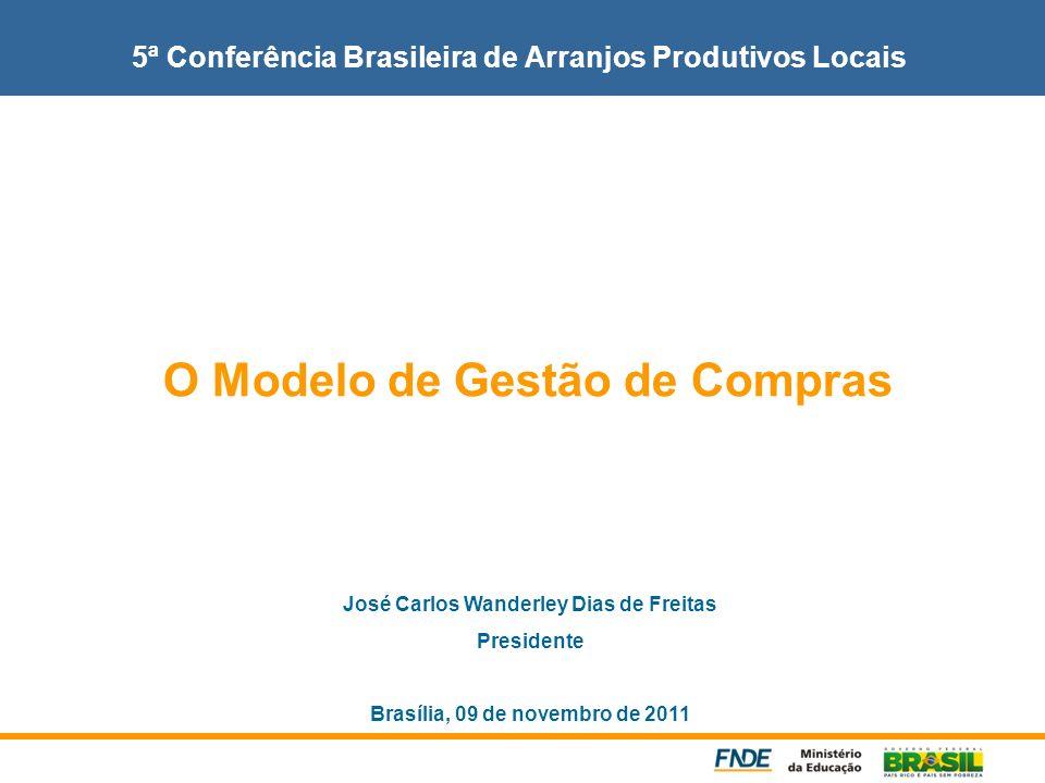 5ª Conferência Brasileira de Arranjos Produtivos Locais O Modelo de Gestão de Compras José Carlos Wanderley Dias de Freitas Presidente Brasília, 09 de