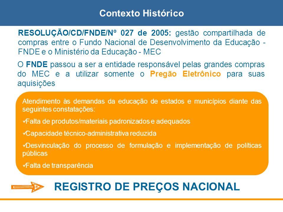 RESOLUÇÃO/CD/FNDE/Nº 027 de 2005: gestão compartilhada de compras entre o Fundo Nacional de Desenvolvimento da Educação - FNDE e o Ministério da Educa