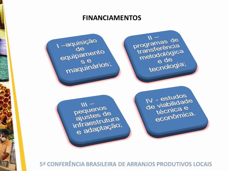 5ª CONFERÊNCIA BRASILEIRA DE ARRANJOS PRODUTIVOS LOCAIS FINANCIAMENTOS