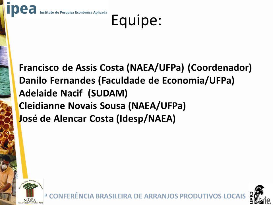 5ª CONFERÊNCIA BRASILEIRA DE ARRANJOS PRODUTIVOS LOCAIS Equipe: Francisco de Assis Costa (NAEA/UFPa) (Coordenador) Danilo Fernandes (Faculdade de Econ
