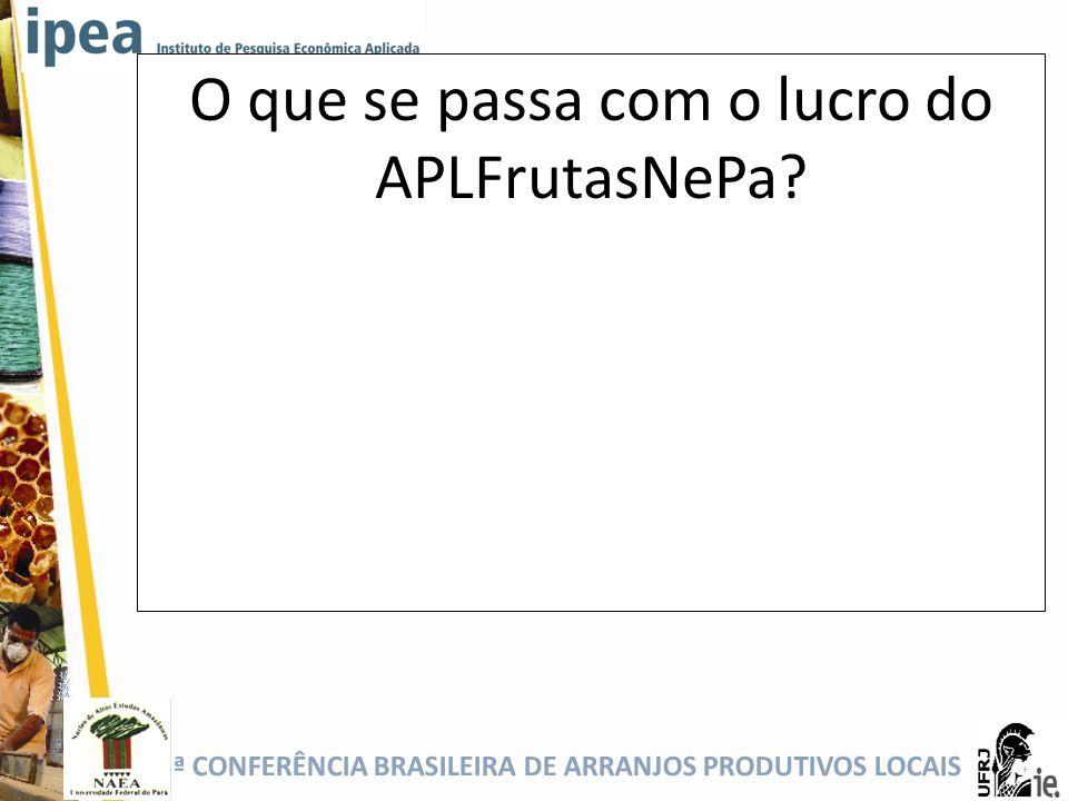 5ª CONFERÊNCIA BRASILEIRA DE ARRANJOS PRODUTIVOS LOCAIS O que se passa com o lucro do APLFrutasNePa?