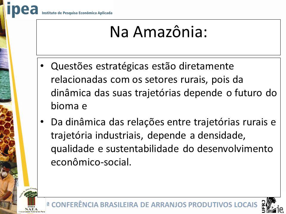 5ª CONFERÊNCIA BRASILEIRA DE ARRANJOS PRODUTIVOS LOCAIS Na Amazônia: Questões estratégicas estão diretamente relacionadas com os setores rurais, pois