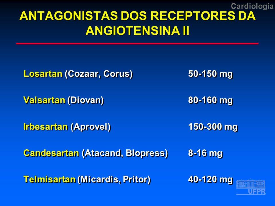ANTAGONISTAS DOS RECEPTORES DA ANGIOTENSINA II Losartan (Cozaar, Corus) 50-150 mg Valsartan (Diovan)80-160 mg Irbesartan (Aprovel)150-300 mg Candesartan (Atacand, Blopress) 8-16 mg Telmisartan (Micardis, Pritor)40-120 mg Losartan (Cozaar, Corus) 50-150 mg Valsartan (Diovan)80-160 mg Irbesartan (Aprovel)150-300 mg Candesartan (Atacand, Blopress) 8-16 mg Telmisartan (Micardis, Pritor)40-120 mg