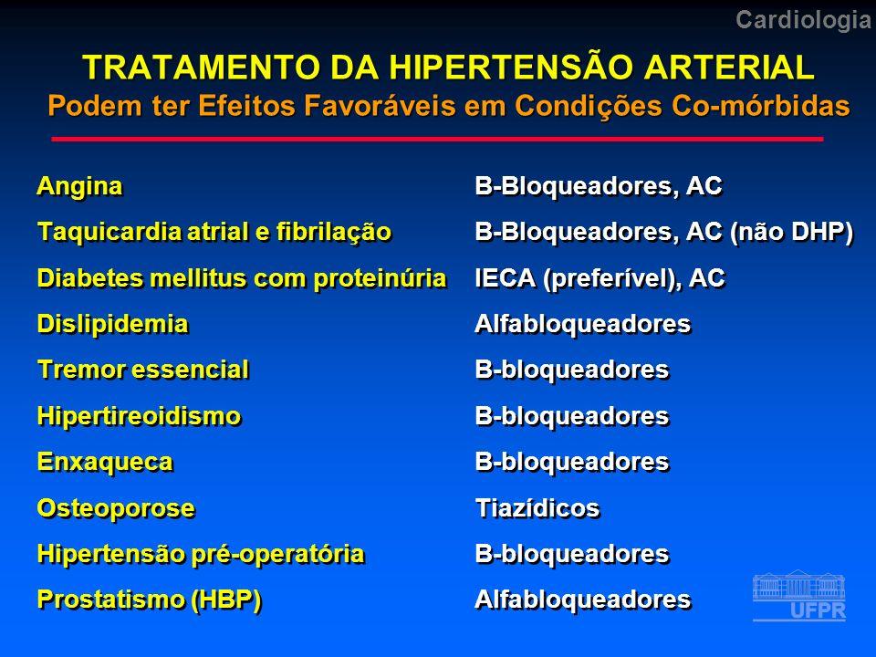 Cardiologia TRATAMENTO DA HIPERTENSÃO ARTERIAL Podem ter Efeitos Favoráveis em Condições Co-mórbidas AnginaB-Bloqueadores, AC Taquicardia atrial e fibrilaçãoB-Bloqueadores, AC (não DHP) Diabetes mellitus com proteinúriaIECA (preferível), AC DislipidemiaAlfabloqueadores Tremor essencialB-bloqueadores HipertireoidismoB-bloqueadores EnxaquecaB-bloqueadores OsteoporoseTiazídicos Hipertensão pré-operatóriaB-bloqueadores Prostatismo (HBP)Alfabloqueadores AnginaB-Bloqueadores, AC Taquicardia atrial e fibrilaçãoB-Bloqueadores, AC (não DHP) Diabetes mellitus com proteinúriaIECA (preferível), AC DislipidemiaAlfabloqueadores Tremor essencialB-bloqueadores HipertireoidismoB-bloqueadores EnxaquecaB-bloqueadores OsteoporoseTiazídicos Hipertensão pré-operatóriaB-bloqueadores Prostatismo (HBP)Alfabloqueadores