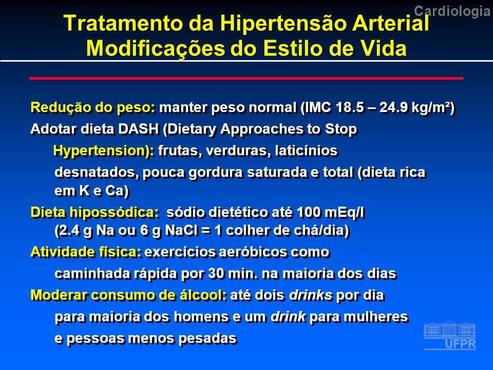 Cardiologia Tratamento da Hipertensão Arterial Modificações do Estilo de Vida Redução do peso: manter peso normal (IMC 18.5 – 24.9 kg/m²) Adotar dieta DASH (Dietary Approaches to Stop Hypertension): frutas, verduras, laticínios desnatados, pouca gordura saturada e total (dieta rica em K e Ca) Dieta hipossódica: sódio dietético até 100 mEq/l (2.4 g Na ou 6 g NaCl = 1 colher de chá/dia) Atividade física: exercícios aeróbicos como caminhada rápida por 30 min.