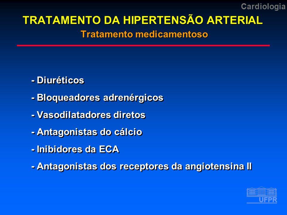 Cardiologia TRATAMENTO DA HIPERTENSÃO ARTERIAL Tratamento medicamentoso -Diuréticos -Bloqueadores adrenérgicos -Vasodilatadores diretos -Antagonistas do cálcio -Inibidores da ECA -Antagonistas dos receptores da angiotensina II -Diuréticos -Bloqueadores adrenérgicos -Vasodilatadores diretos -Antagonistas do cálcio -Inibidores da ECA -Antagonistas dos receptores da angiotensina II