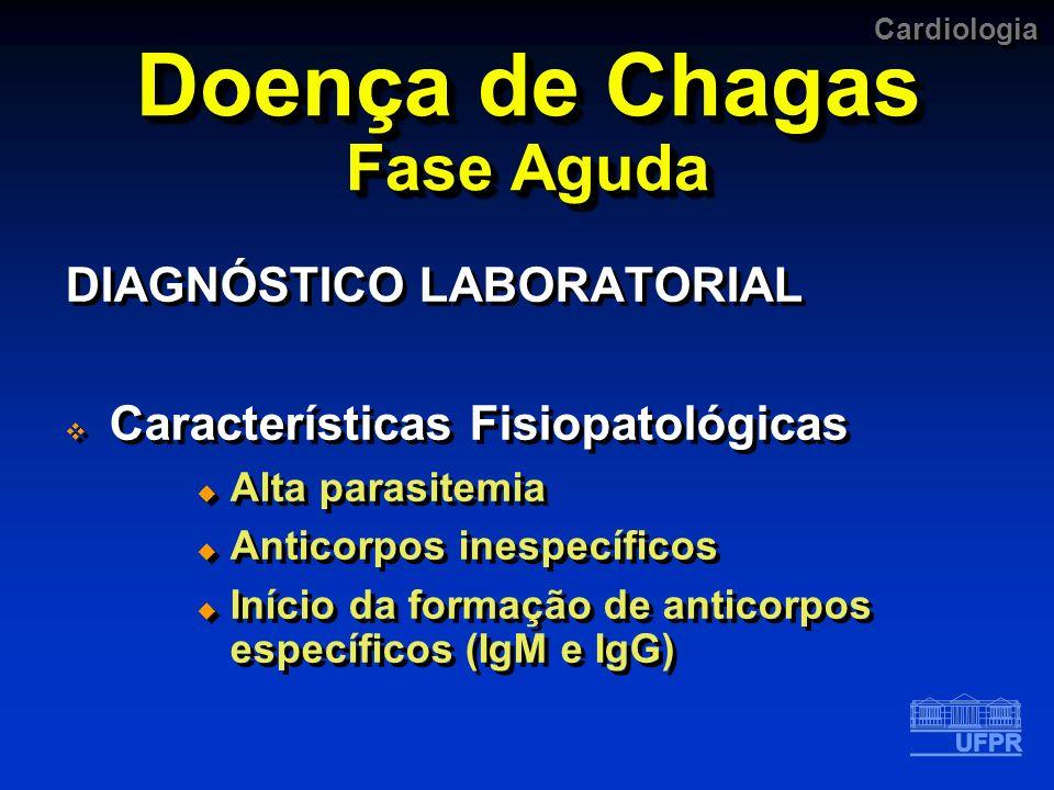 Cardiologia Doença de Chagas Fase Aguda DIAGNÓSTICO LABORATORIAL Características Fisiopatológicas Alta parasitemia Anticorpos inespecíficos Início da