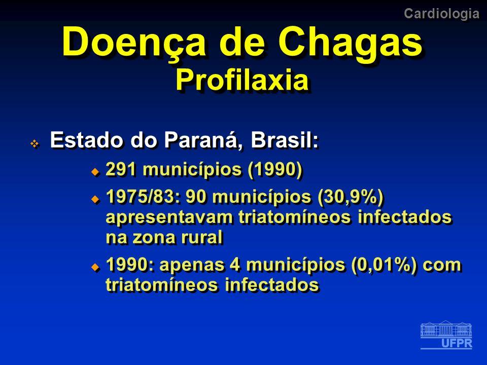 Cardiologia Doença de Chagas Profilaxia Estado do Paraná, Brasil: 291 municípios (1990) 1975/83: 90 municípios (30,9%) apresentavam triatomíneos infec