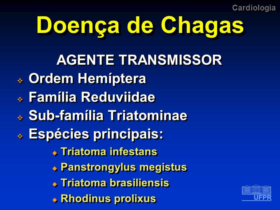 Cardiologia Doença de Chagas AGENTE TRANSMISSOR Ordem Hemíptera Família Reduviidae Sub-família Triatominae Espécies principais: Triatoma infestans Pan