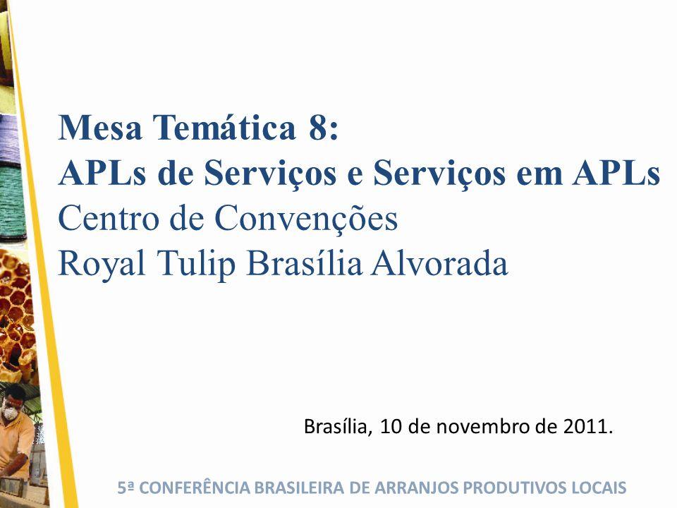 5ª CONFERÊNCIA BRASILEIRA DE ARRANJOS PRODUTIVOS LOCAIS Brasília, 10 de novembro de 2011. Mesa Temática 8: APLs de Serviços e Serviços em APLs Centro
