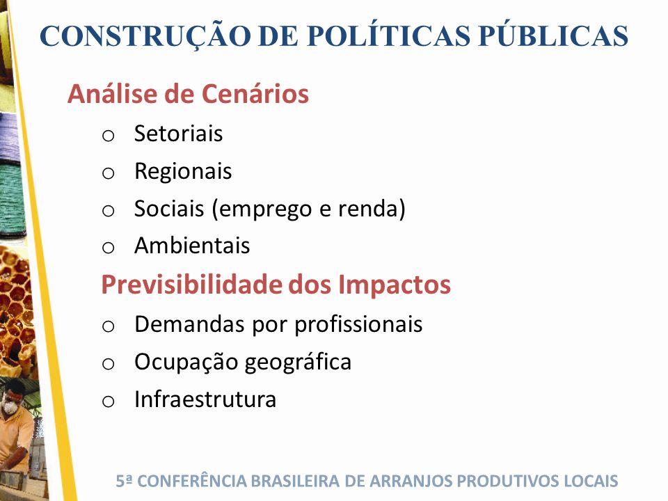 5ª CONFERÊNCIA BRASILEIRA DE ARRANJOS PRODUTIVOS LOCAIS CONSTRUÇÃO DE POLÍTICAS PÚBLICAS Análise de Cenários o Setoriais o Regionais o Sociais (empreg