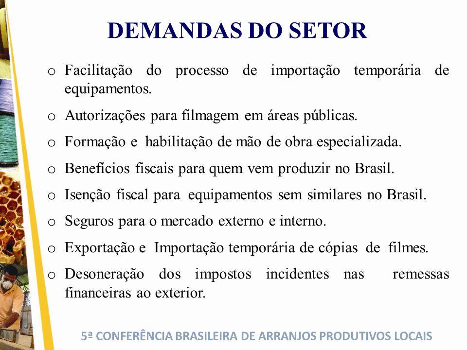 5ª CONFERÊNCIA BRASILEIRA DE ARRANJOS PRODUTIVOS LOCAIS DEMANDAS DO SETOR o Facilitação do processo de importação temporária de equipamentos. o Autori