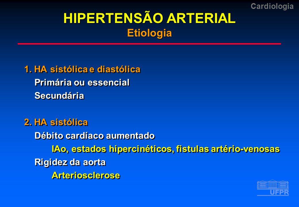 Cardiologia 1. HA sistólica e diastólica Primária ou essencial Secundária 2. HA sistólica Débito cardíaco aumentado IAo, estados hipercinéticos, fistu
