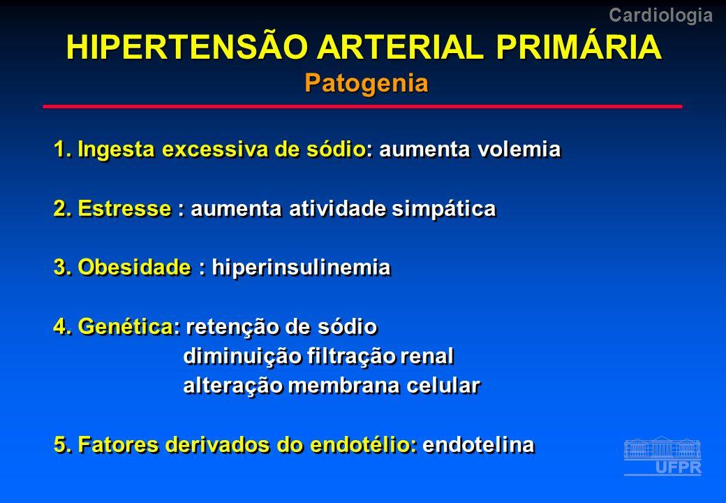Cardiologia 1. Ingesta excessiva de sódio: aumenta volemia 2. Estresse : aumenta atividade simpática 3. Obesidade : hiperinsulinemia 4. Genética: rete