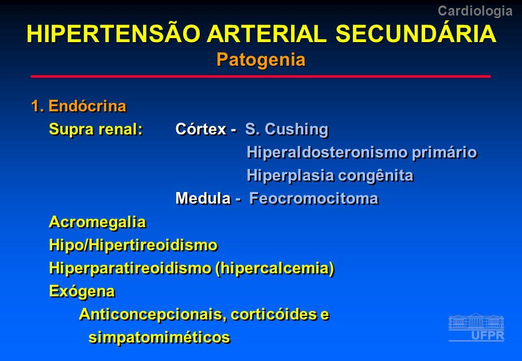 Cardiologia 1. Endócrina Supra renal:Córtex - S. Cushing Hiperaldosteronismo primário Hiperplasia congênita Medula - Feocromocitoma Acromegalia Hipo/H