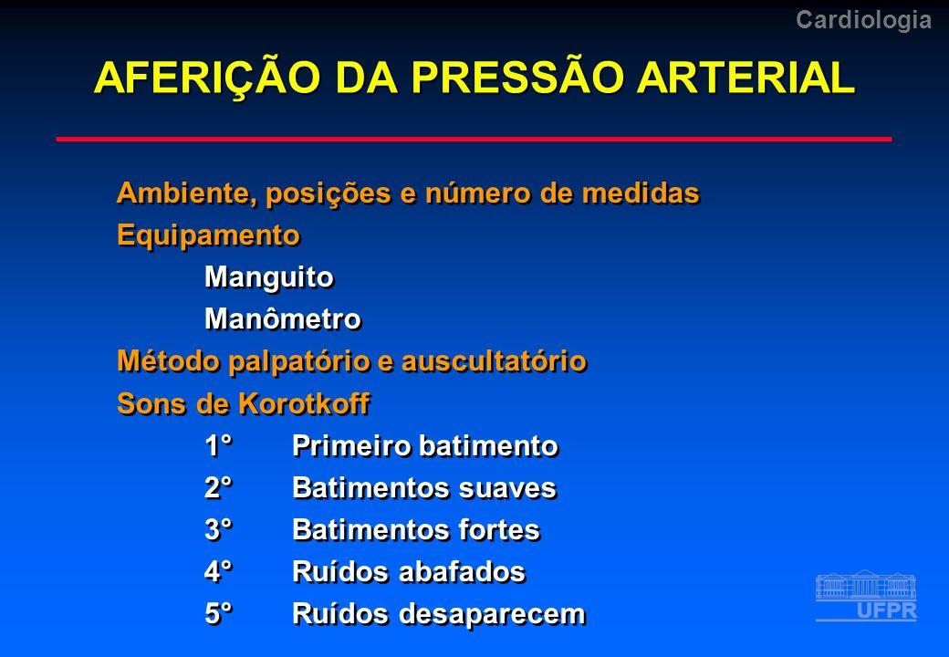 Cardiologia Ambiente, posições e número de medidas Equipamento Manguito Manômetro Método palpatório e auscultatório Sons de Korotkoff 1°Primeiro batim