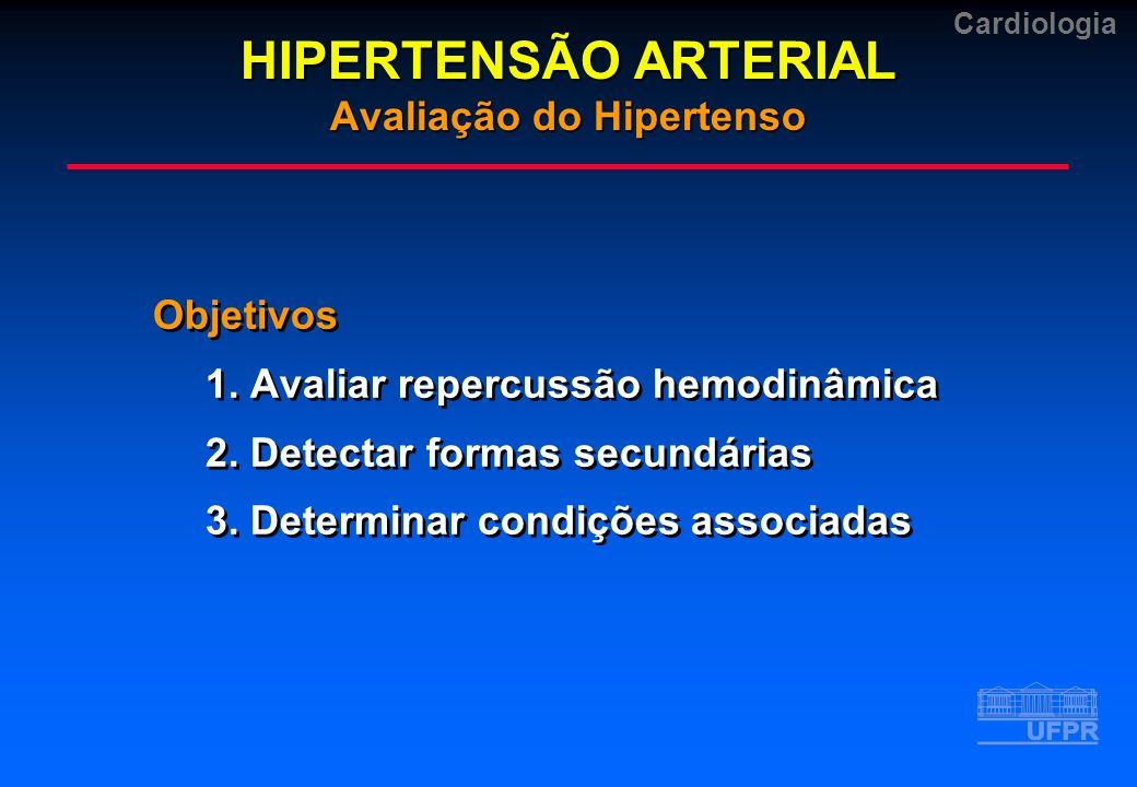 Cardiologia Objetivos 1. Avaliar repercussão hemodinâmica 2. Detectar formas secundárias 3. Determinar condições associadas Objetivos 1. Avaliar reper