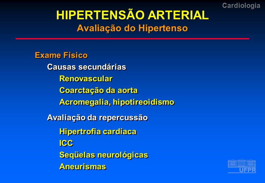 Cardiologia Exame Físico Causas secundárias Renovascular Coarctação da aorta Acromegalia, hipotireoidismo Avaliação da repercussão Hipertrofia cardíac