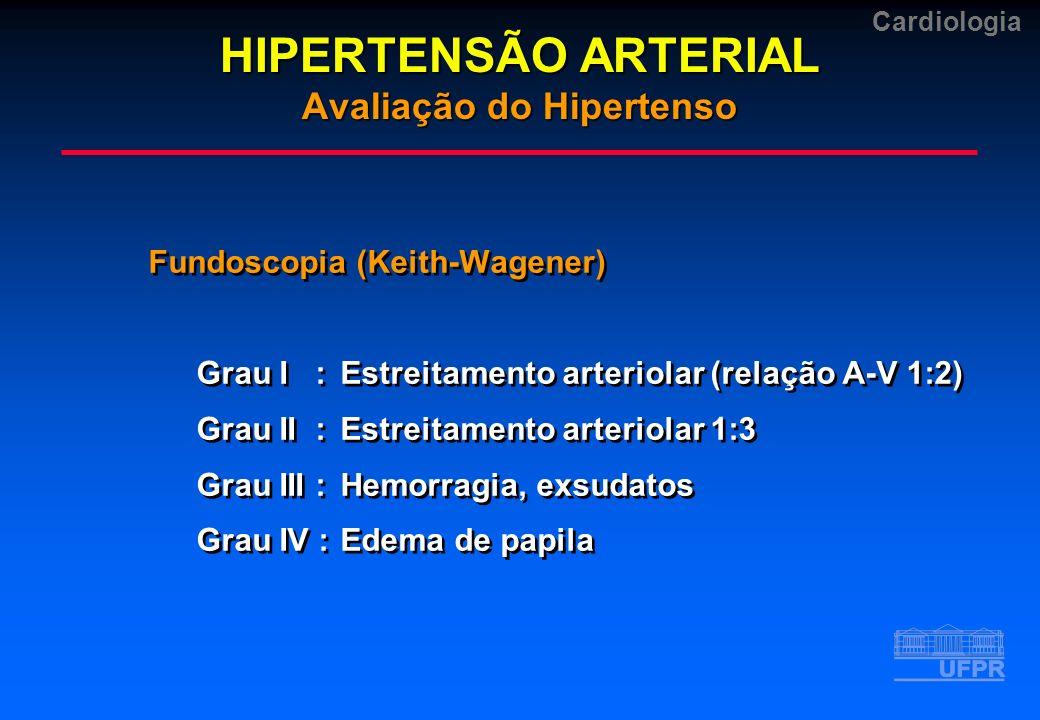 Cardiologia Fundoscopia (Keith-Wagener) Grau I :Estreitamento arteriolar (relação A-V 1:2) Grau II :Estreitamento arteriolar 1:3 Grau III :Hemorragia,