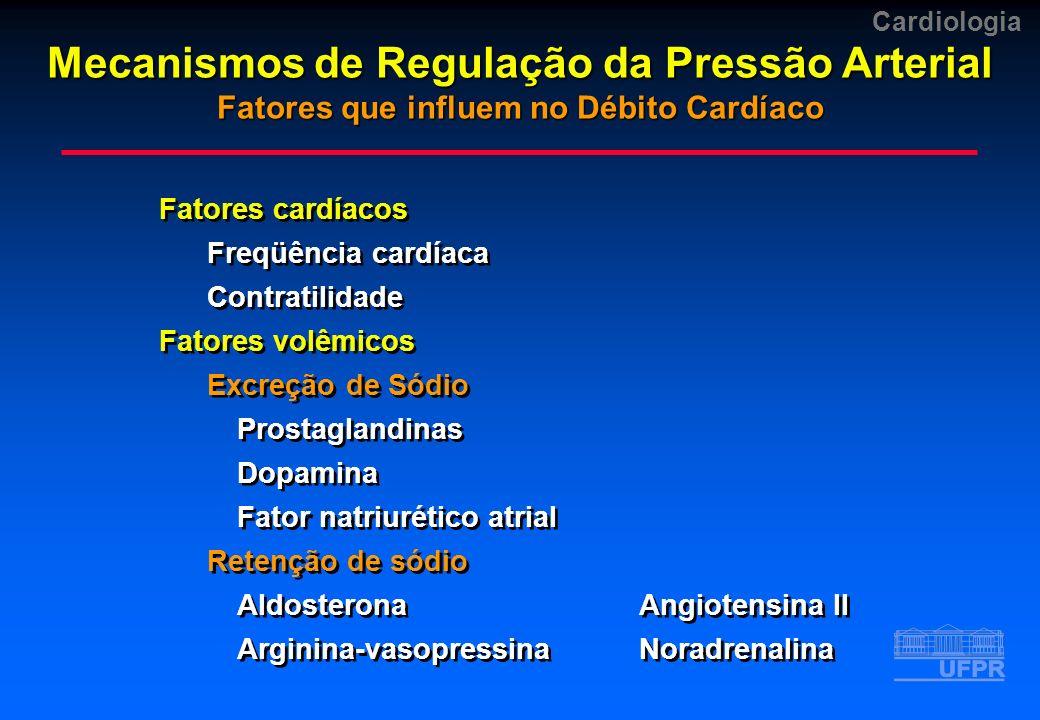 Cardiologia Hipertrofia Vascular Fatores locais Iônicos (sódio e cálcio) Auto-regulatórios Neurais simpáticos Ação constritora (alfa) Ação dilatadora (beta) Humorais VasodilatadoresVasoconstritores PGI2, PGE2Angiotensina II DopaminaNoradrenalina BradicininaPGF2 FNAADH Hipertrofia Vascular Fatores locais Iônicos (sódio e cálcio) Auto-regulatórios Neurais simpáticos Ação constritora (alfa) Ação dilatadora (beta) Humorais VasodilatadoresVasoconstritores PGI2, PGE2Angiotensina II DopaminaNoradrenalina BradicininaPGF2 FNAADH Mecanismos de Regulação da Pressão Arterial Fatores que influem na Resistência Periférica