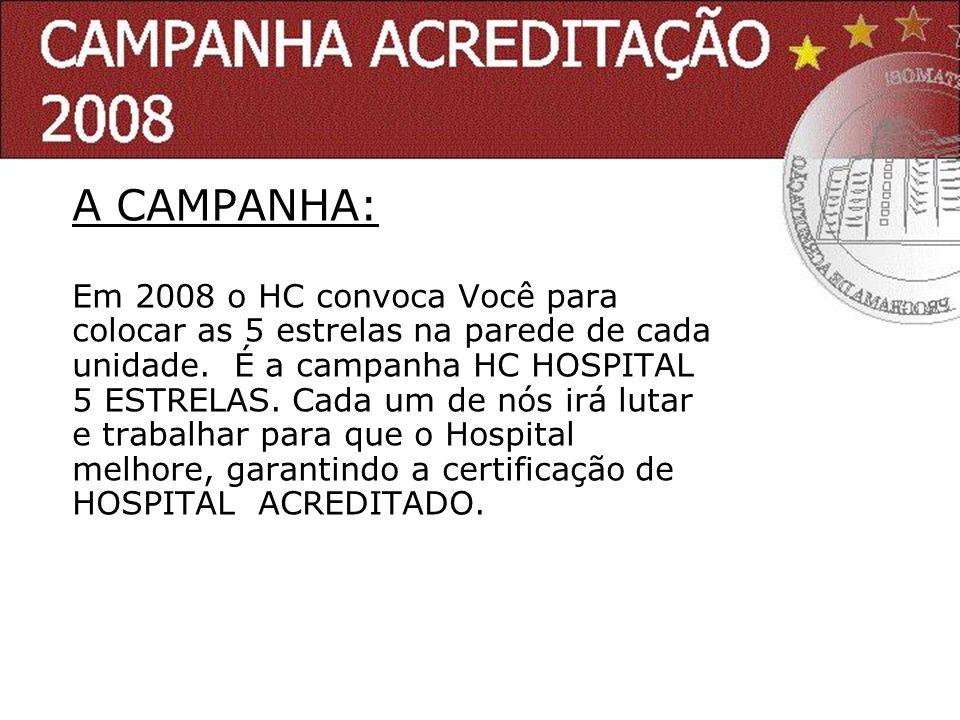 A CAMPANHA: Em 2008 o HC convoca Você para colocar as 5 estrelas na parede de cada unidade. É a campanha HC HOSPITAL 5 ESTRELAS. Cada um de nós irá lu