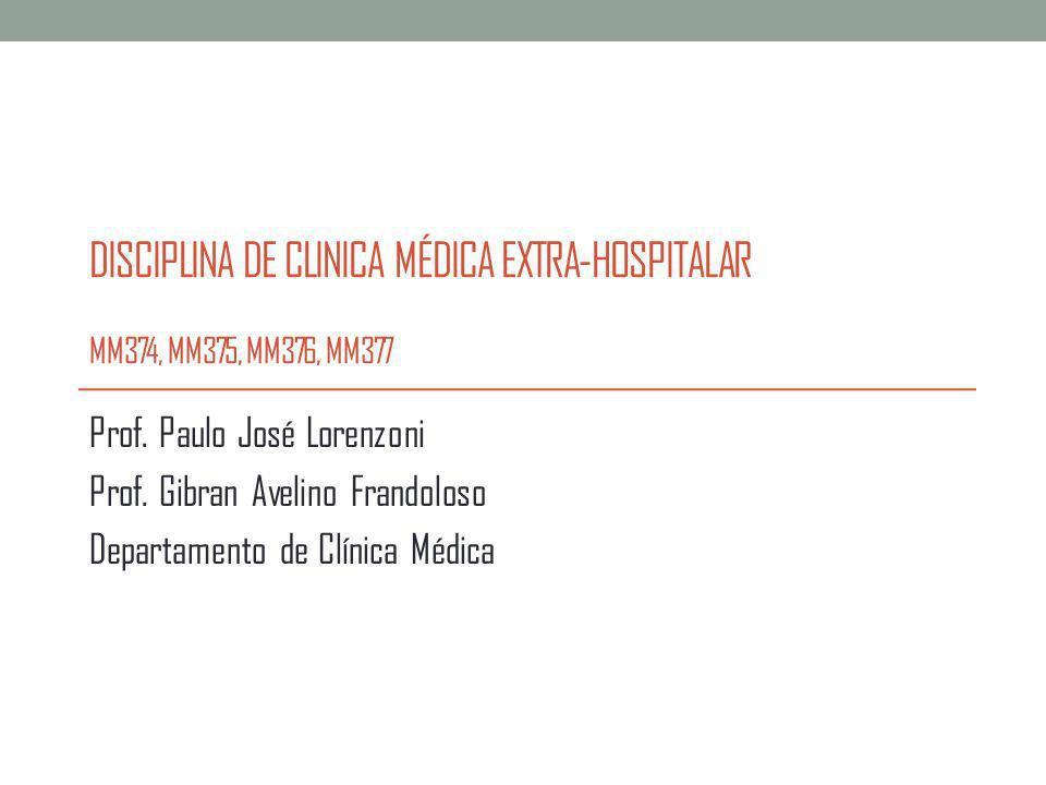 Disciplina de Clinica Médica Extra-Hospitalar Atividades Teóricas: juntamente com a Disciplina de Recursos Diagnósticos Atividades Práticas: Laboratório do Departamento de Clínica Médica (8º andar do anexo A)