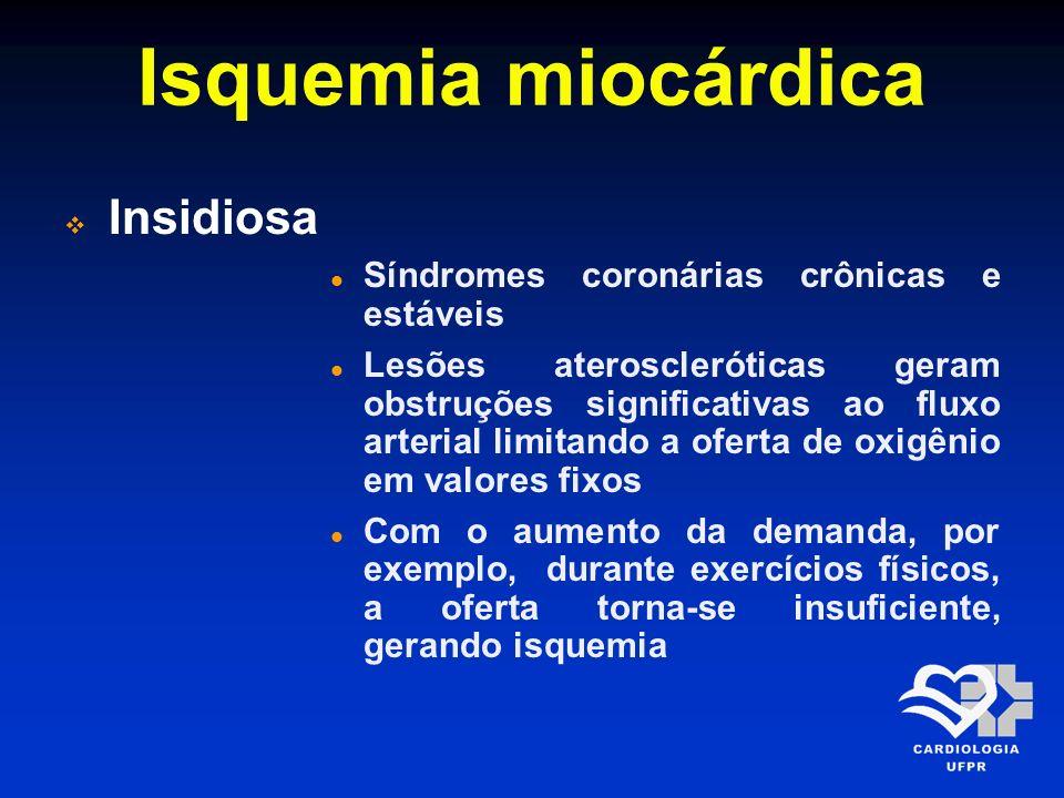 Isquemia miocárdica Insidiosa Síndromes coronárias crônicas e estáveis Lesões ateroscleróticas geram obstruções significativas ao fluxo arterial limit