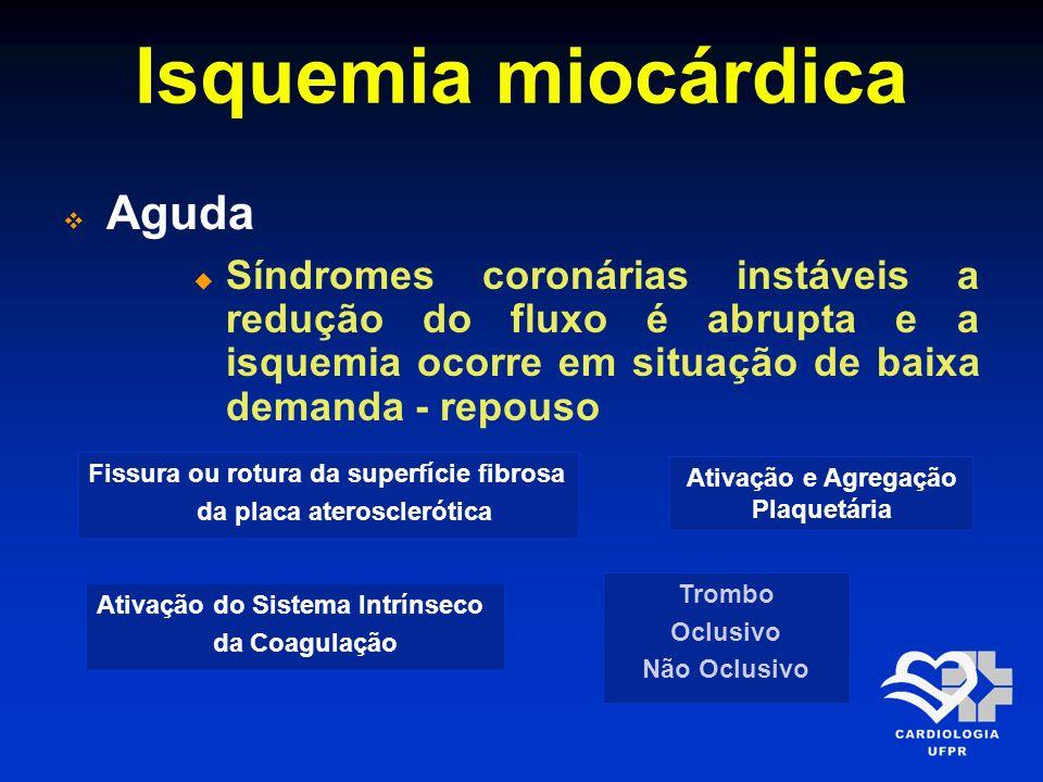 Isquemia miocárdica Aguda Síndromes coronárias instáveis a redução do fluxo é abrupta e a isquemia ocorre em situação de baixa demanda - repouso Fissu