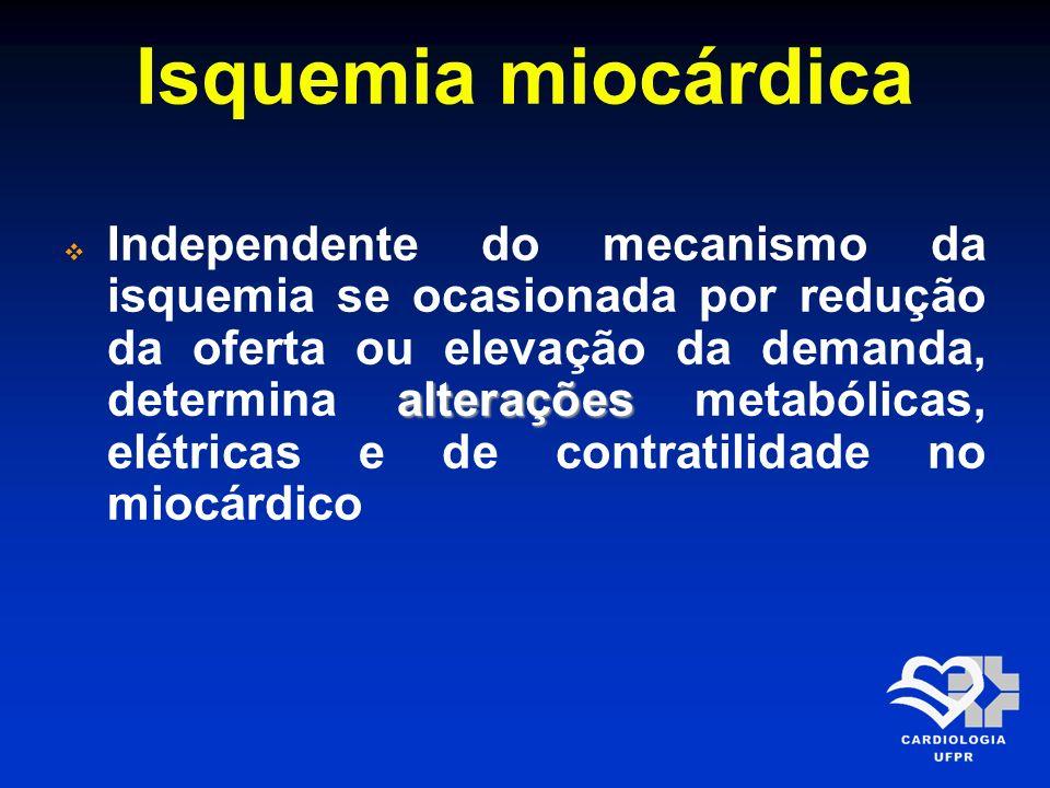 Isquemia miocárdica alterações Independente do mecanismo da isquemia se ocasionada por redução da oferta ou elevação da demanda, determina alterações