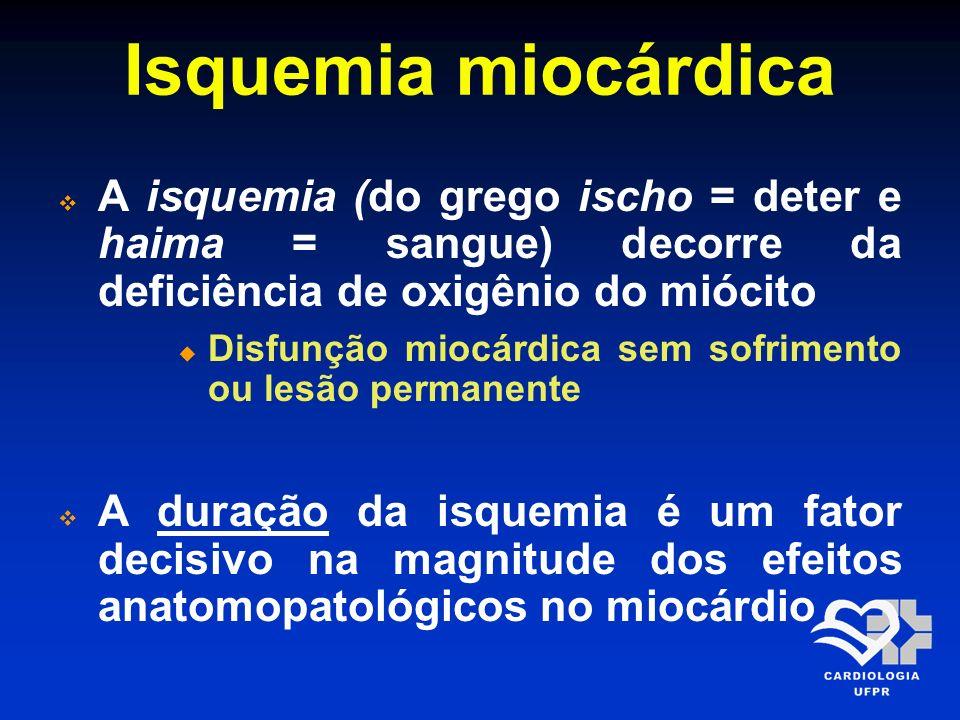 Isquemia miocárdica A isquemia (do grego ischo = deter e haima = sangue) decorre da deficiência de oxigênio do miócito Disfunção miocárdica sem sofrim