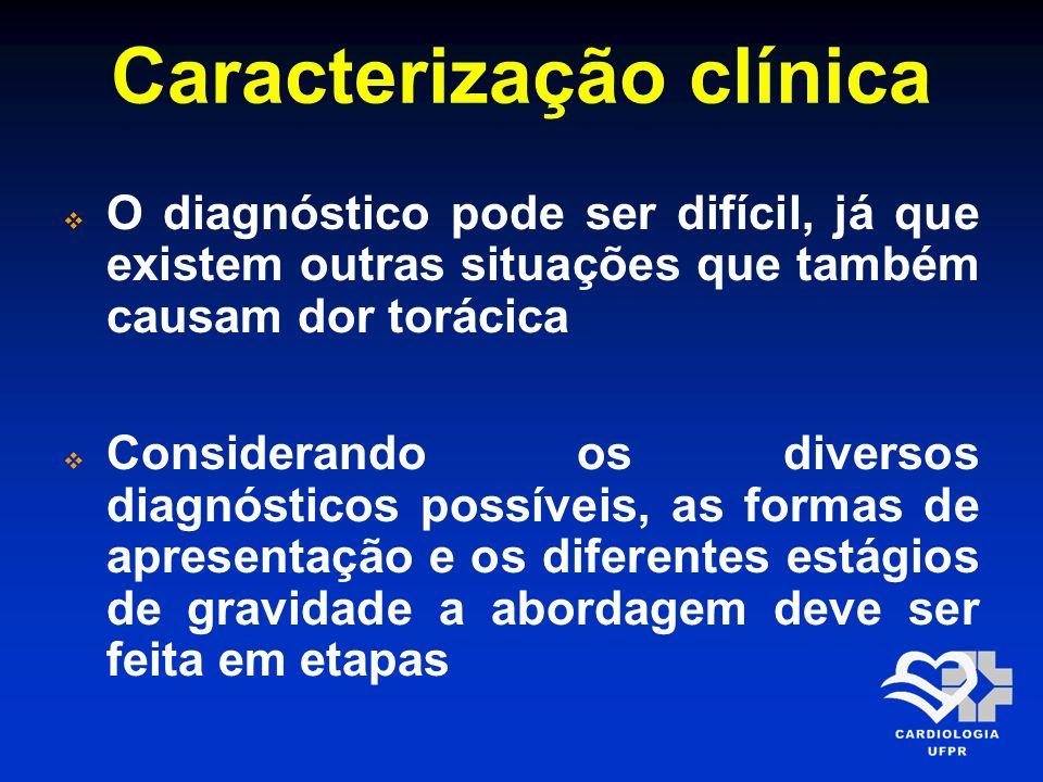 Caracterização clínica O diagnóstico pode ser difícil, já que existem outras situações que também causam dor torácica Considerando os diversos diagnós