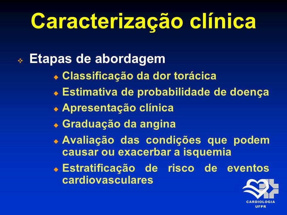 Caracterização clínica Etapas de abordagem Classificação da dor torácica Estimativa de probabilidade de doença Apresentação clínica Graduação da angin