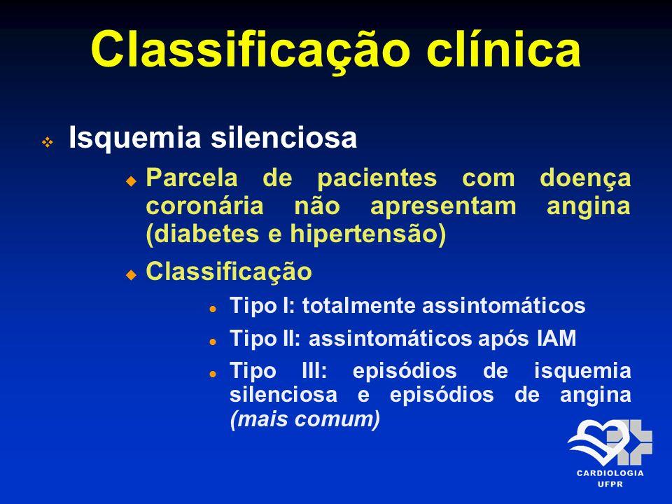 Classificação clínica Isquemia silenciosa Parcela de pacientes com doença coronária não apresentam angina (diabetes e hipertensão) Classificação Tipo